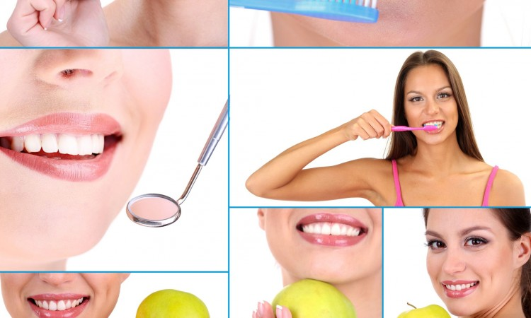 22416012 - collage of photographs on the theme of healthy teeth