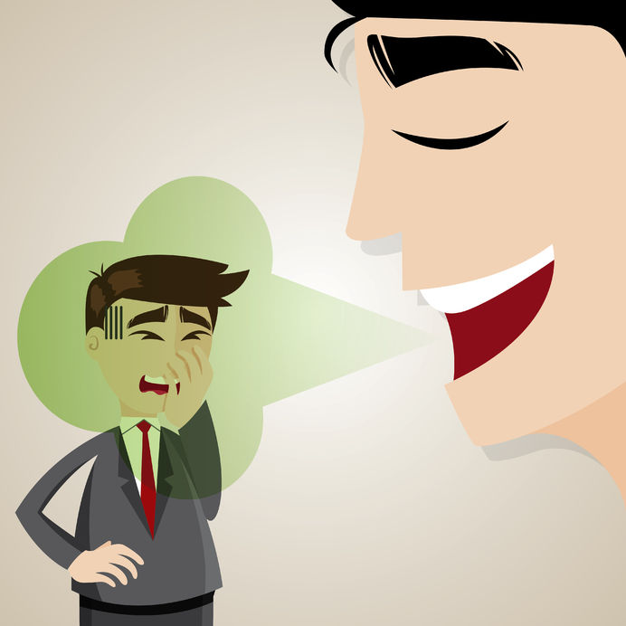 28389619 - illustration of cartoon businessman with halitosis stinky