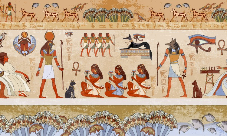 66325323 - ancient egypt scene. hieroglyphic carvings on the exterior walls of an ancient egyptian temple. grunge ancient egypt background. hand drawn egyptian gods and pharaohs. murals ancient egypt.